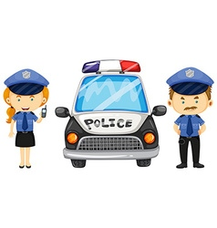 Two police officers by the police car vector image