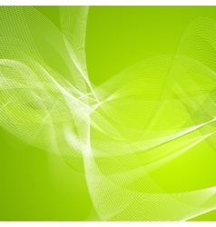 Abstract green wavy lines pattern vector