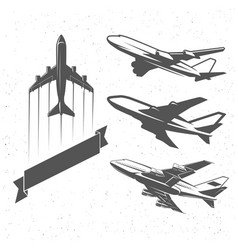 Vintage airplane symbols aviation stamps vector