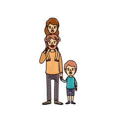color crayon stripe cartoon bearded father with vector image
