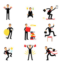 Daily routine of successful businessman set vector