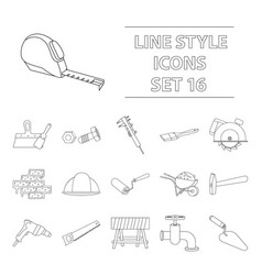 build and repair set icons in outline style big vector image