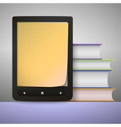 Stack of colorful books with electronic book vector image