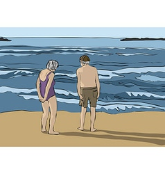 Elderly couple looking at the horizon vector