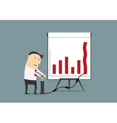 Businessman pumping up graph to increase profit vector