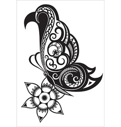 Butterfly with ornaments in polynesian style vector