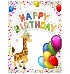 Birthday cartoon with happy giraffe vector
