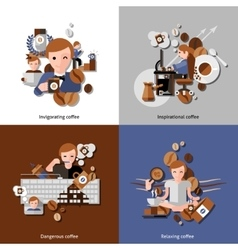 Coffee and relax icons set vector