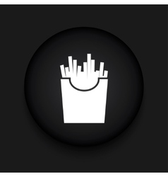 Modern french fries black circle icon vector