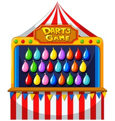 Darts game with balloons on the wall vector
