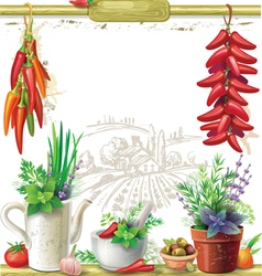Strings of peppers and country still life vector