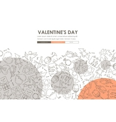 Valentineys day doodle website template design vector