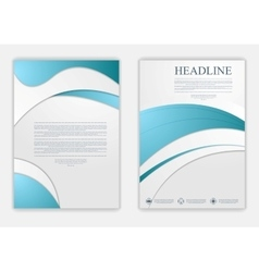 Abstract blue grey wavy corporate flyer design vector