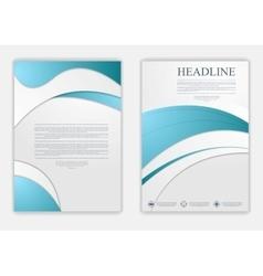 Abstract blue grey wavy corporate flyer design vector image