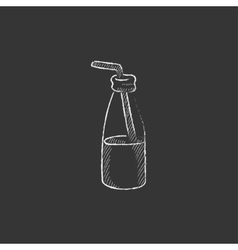 Glass bottle with drinking straw drawn in chalk vector