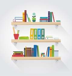 Flat shelves with books vector