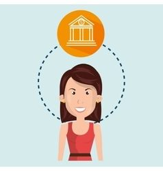 Woman and bank isolated icon design vector