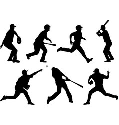 baseball silhouettes collection 5 vector image vector image