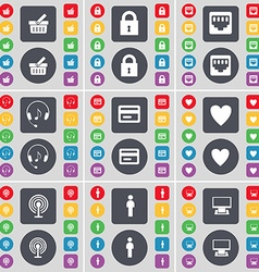Basket Lock LAN socket Hadphones Credit card Heart vector image vector image