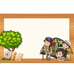 Border design with girls in tent vector