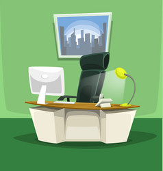 cartoon office desk chair monitor phone scene set vector image vector image