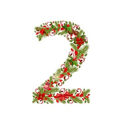 christmas floral tree number 2 vector image vector image