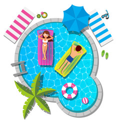 couple relaxing at swimming pool for summer vector image