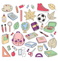 doodle icons collection school supplies vector image