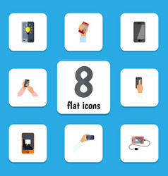 Flat icon smartphone set of interactive display vector