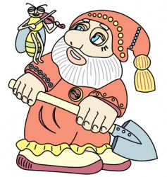 good gnome with a shovel vector image vector image