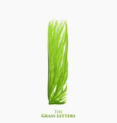 Letter i of juicy grass alphabet green i vector