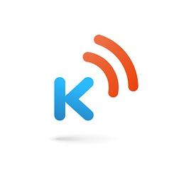 Letter K wireless logo icon design template vector image vector image