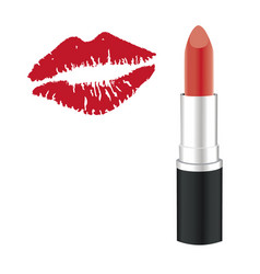 lipstick kiss vector image vector image