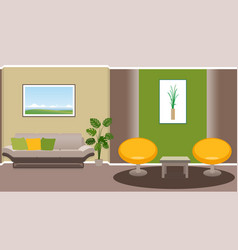 living room interior with modern furniture vector image vector image
