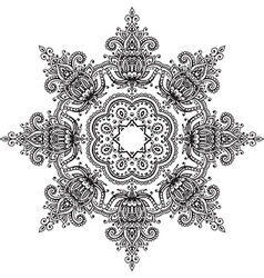 Mandala with hand drawn floral henna elements vector