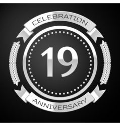 Nineteen years anniversary celebration with silver vector