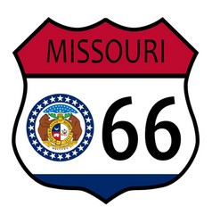 route 66 missouri sign and flag vector image vector image