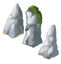 Set of grey rocks on a white background vector