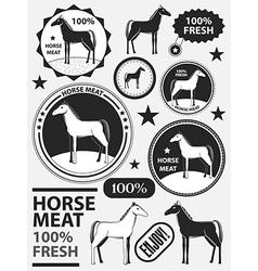 Set of logo horse meat horseflesh labels and vector image
