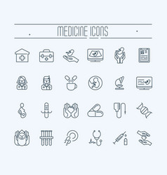 Set of thin line icons medicine and heathcare vector