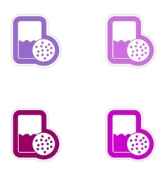 Set paper stickers on white background glass of vector