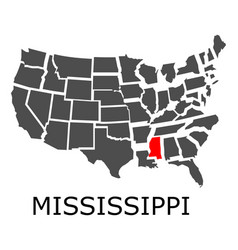 State of mississippi on map of usa vector