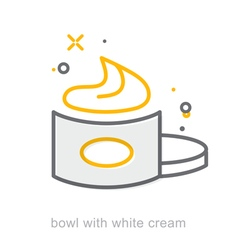 Thin line icons Bowl with white cream vector image