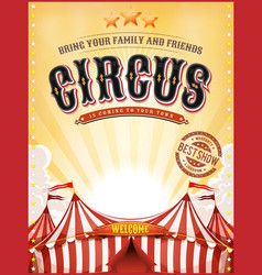 Vintage summer circus poster with big top vector