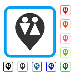 Wc map marker framed icon vector