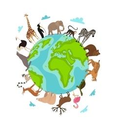 Wild animals around globe banner vector