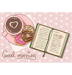 with cup of coffee and book vector image