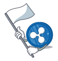 With flag ripple coin character cartoon vector