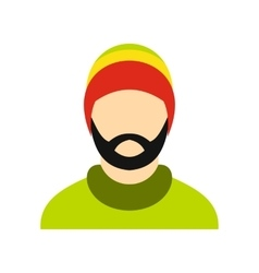 Man wearing rastafarian hat icon flat style vector