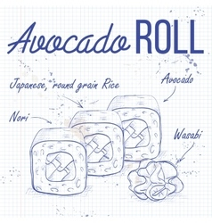 Sushi sketch avocado roll vector